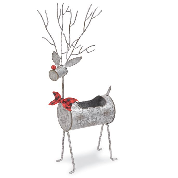Small Tin Reindeer Planter