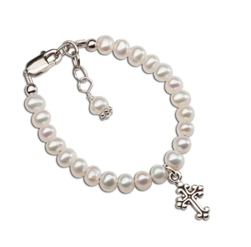 Pearl Baby Bracelet with Cross Pendant