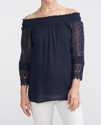Analia Off the Shoulder Navy Blouse