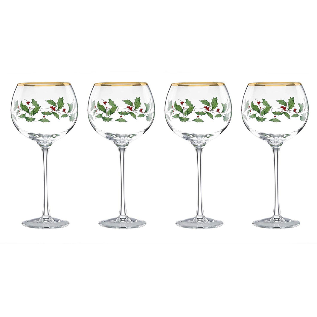 Holiday Balloon Wine Glasses Set/4