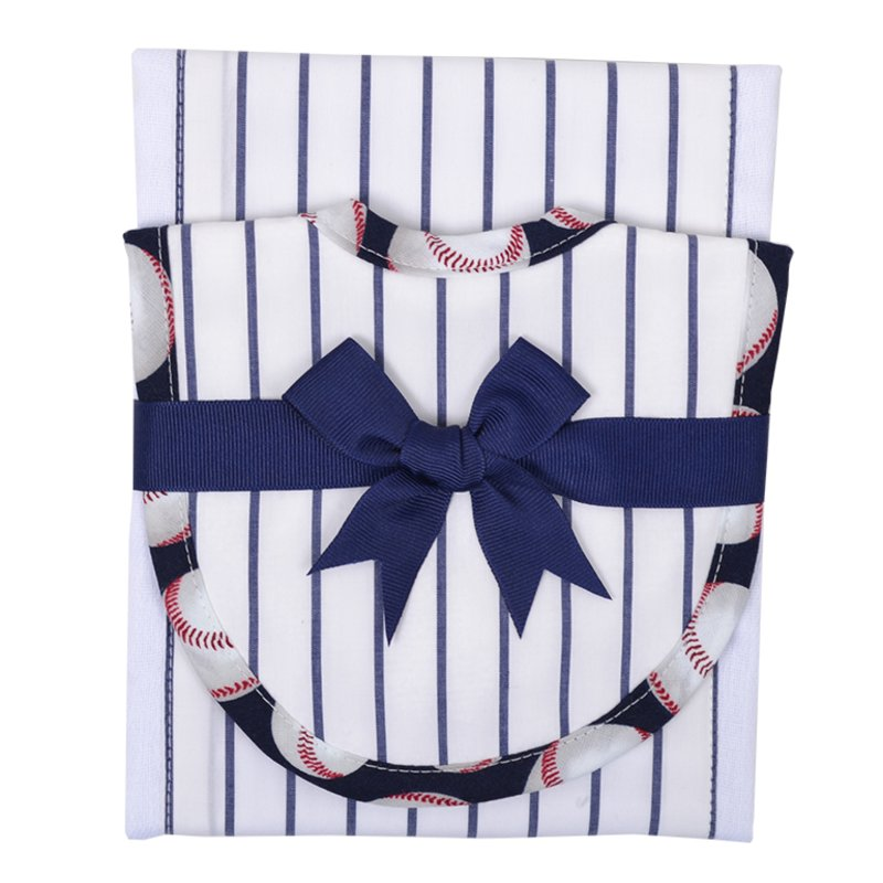 Baseball Bib and Burp Set