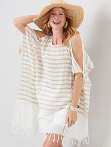 Beige and Cream Stripe Cover Up