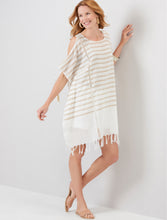 Load image into Gallery viewer, Beige and Cream Stripe Cover Up