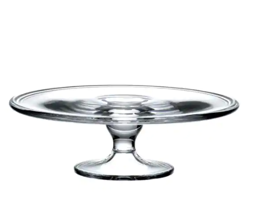 Medium Crystal Footed Cake Plate 10in