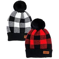 Buffalo Plaid Pom Hat, 2 Asst.