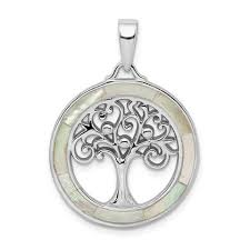 Sterling Silver Mother of Pearl Disc Openwork Tree of Life Pendant