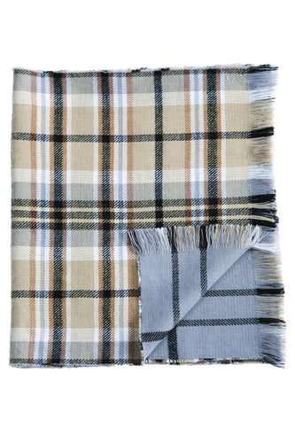 Tan and Gray Blanket Scarf