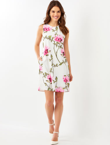 White Pink Hydrangea Dress