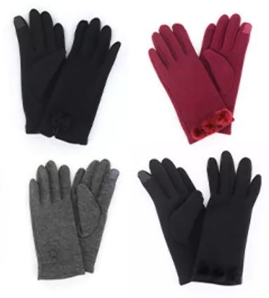 Modern Vintage fleece Gloves, 5 Asst.