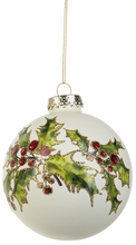 Load image into Gallery viewer, Holly Poinsettia Glass Ornament