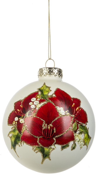 Holly Poinsettia Glass Ornament