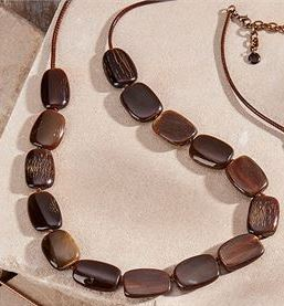Stone Leather Necklace