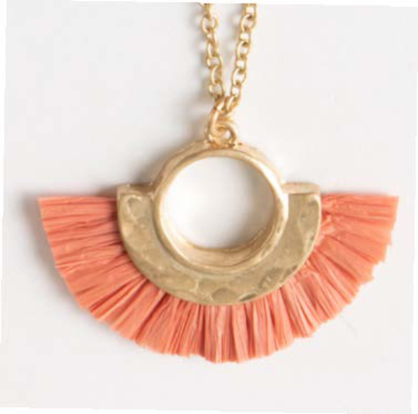 Paradise Raffia Short Necklace, 4 Asst.