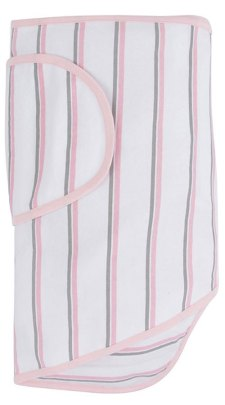 Miracle Blanket Swaddle in Pink and Gray Stripes