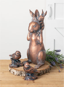 Copper Stacked Bunnies Figurine