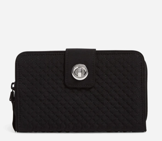 Microfiber RFID Turnlock Wallet in Classic Black