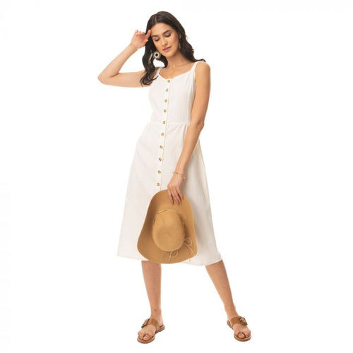 Alluring white buttoned dress