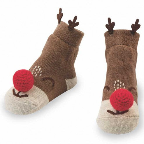 Santa and Reindeer Rattle Toe