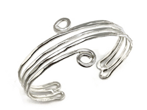 Lines and Small Spirals Silver Cuff Bracelet