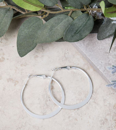 Small Flattened Hooped Earrings, 2 Asst.