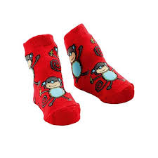 Mudpie Baby Red Monkey Sock