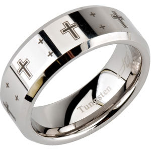 8.3mm Dura Tungsten Beveled Band with Black Laser Crosses