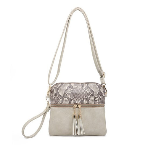 Tara Crossbody in Python and Light Sand