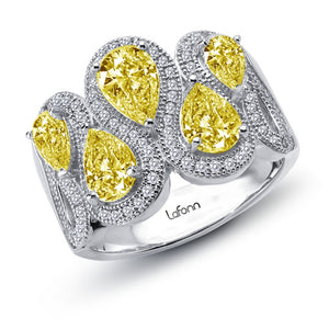 Multi Stone Yellow Halo Style Ring