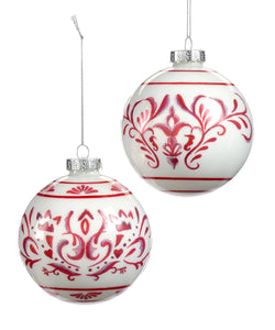 Red and White Glass Ornament