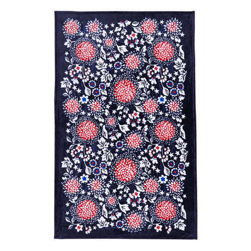 Plush Throw Blanket Red, White & Blossoms