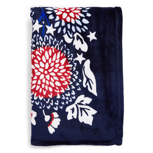 Vera Bradley Plush Throw Blanket Red, White & Blossoms