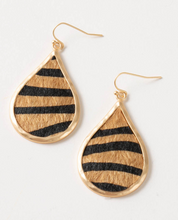 Load image into Gallery viewer, Zebra Tear Drop Earrings, 2 Asst.
