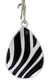 Zebra Tear Drop Earrings, 2 Asst.