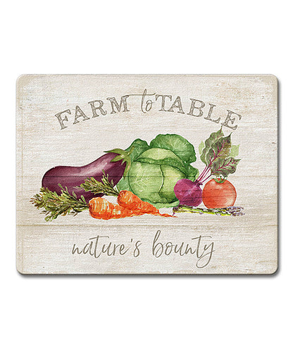 Farm to Table Natures Bounty Glass Cutting Board