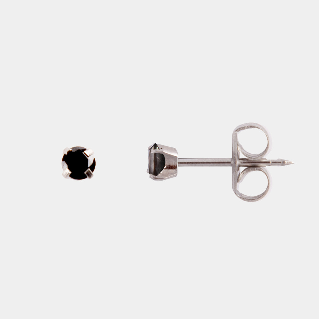 Studex 3mm Cubic Zirconia Surgical Steel Black Stud