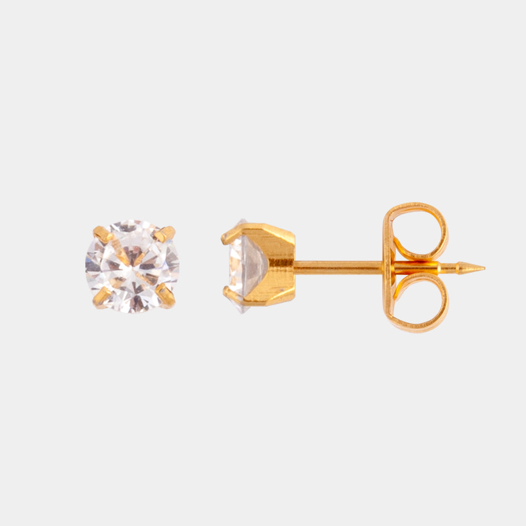 Studex 6mm Cubic Zirconia 24K Pale Gold Stud