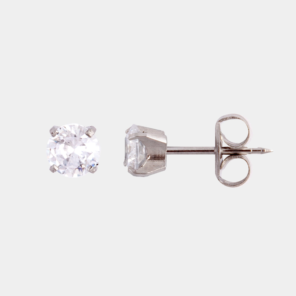 Studex 6mm Cubic Zirconia Surgical Steel Stud