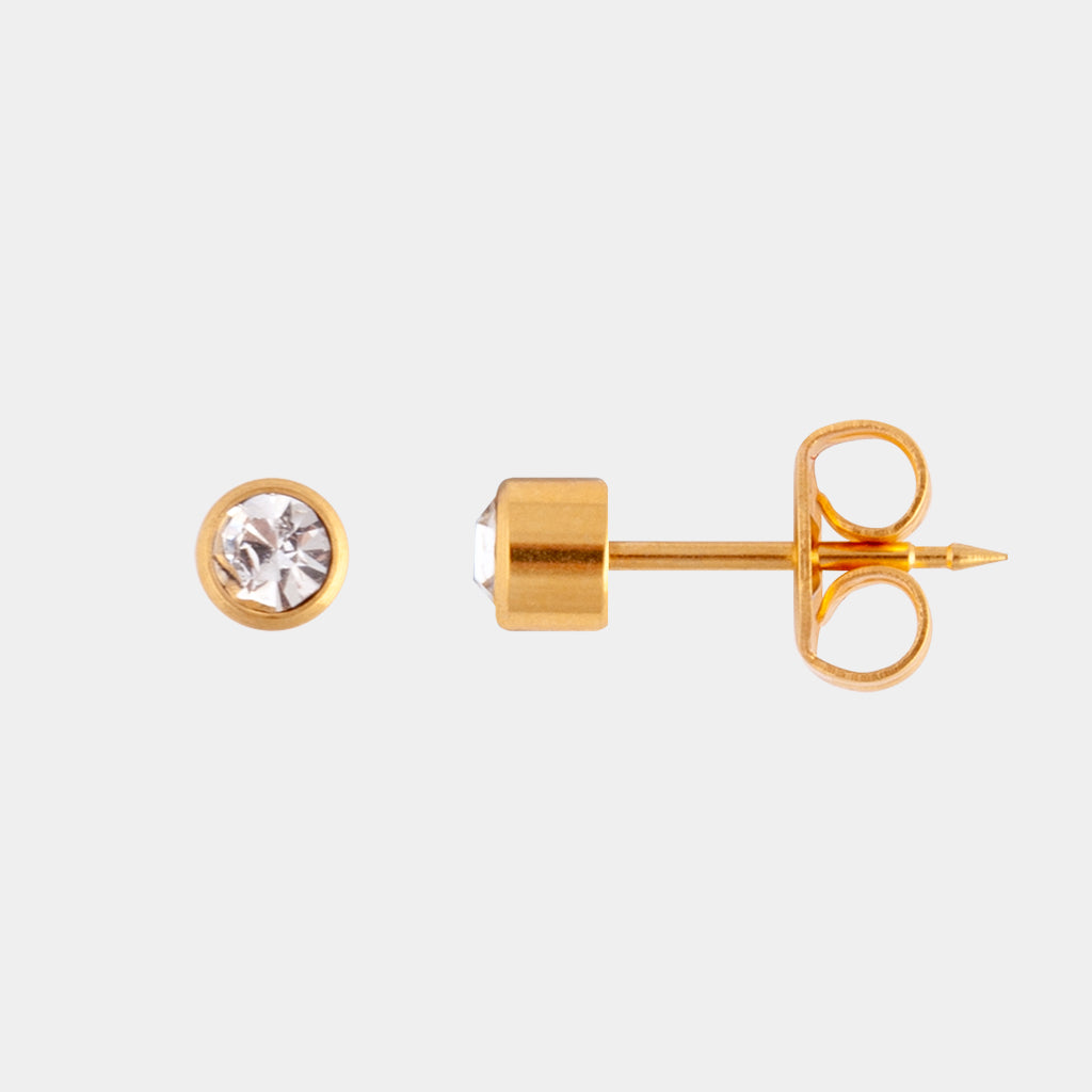 Studex 2mm Crystal Bezel 24K Pale Gold Stud
