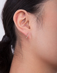Gold Plated Sterling Silver Mini Cubic Zirconia Open Hoop Earring - link has visual effect only