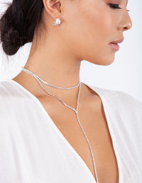 Silver Cup Chain Diamante Layered Choker - link has visual effect only