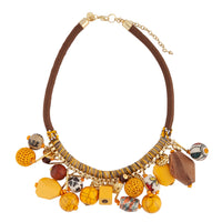 Gold Brown Statement Thread Wrap Necklace - link has visual effect only