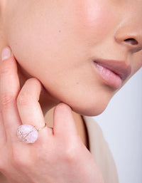 Rose Gold Pink Stone Ring - link has visual effect only