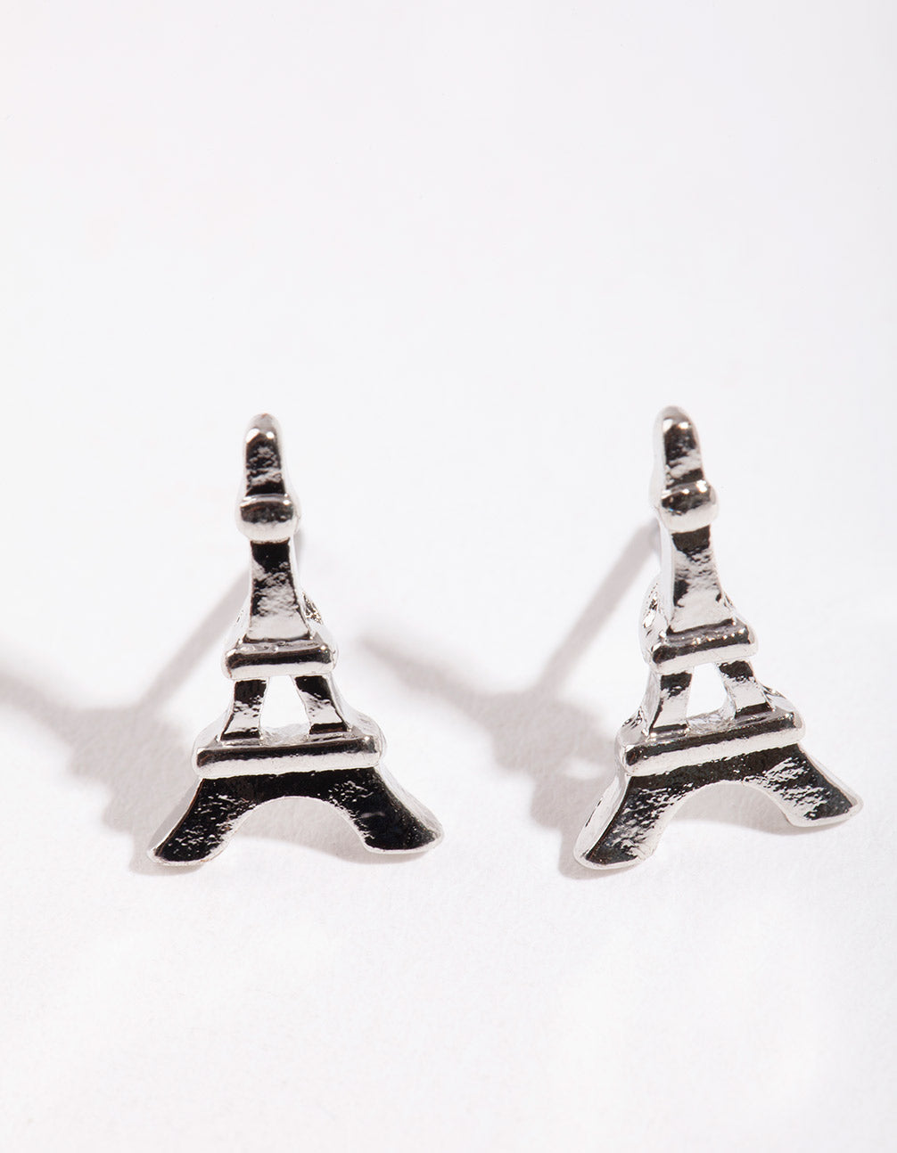 Rhodium Mini Eiffel Tower Stud Earrings