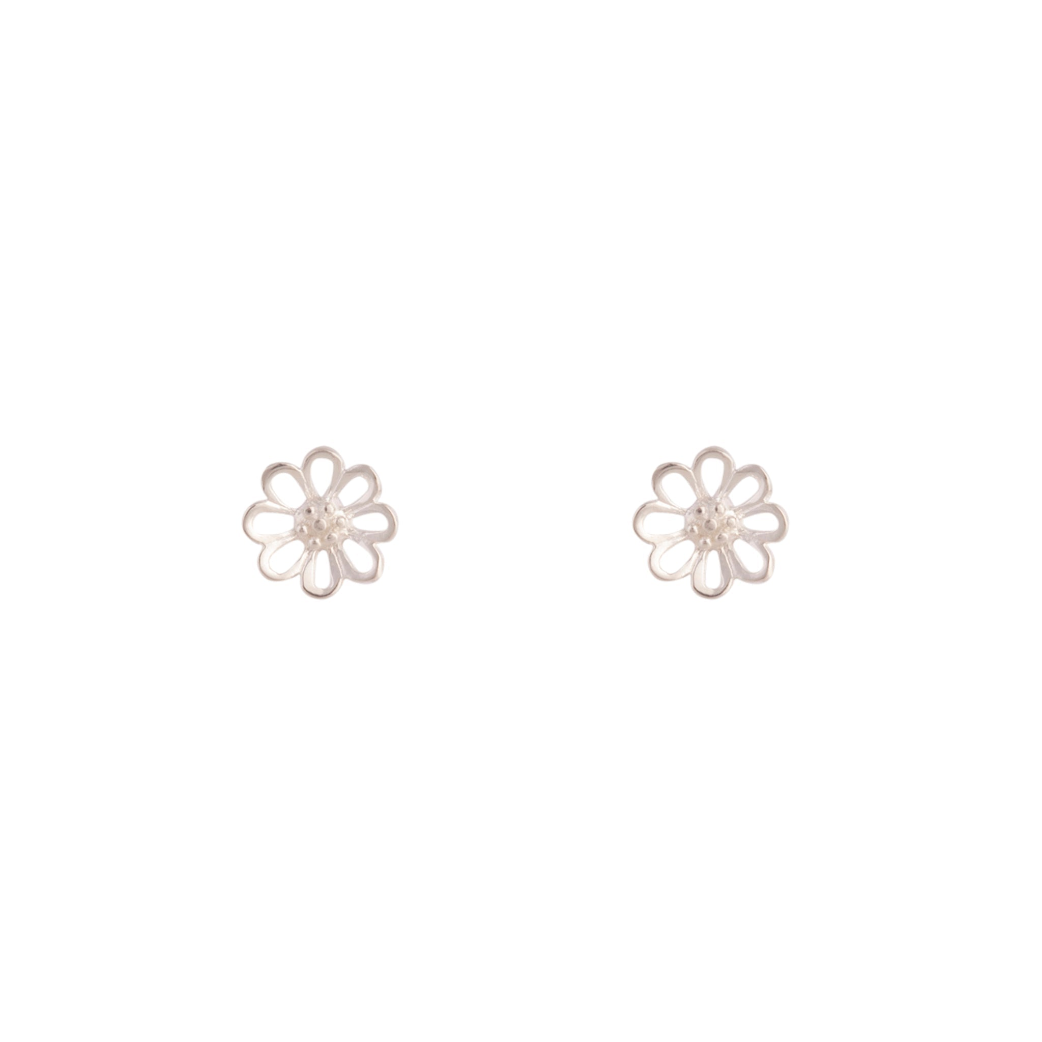 Sterling Silver Open Daisy Stud Earrings