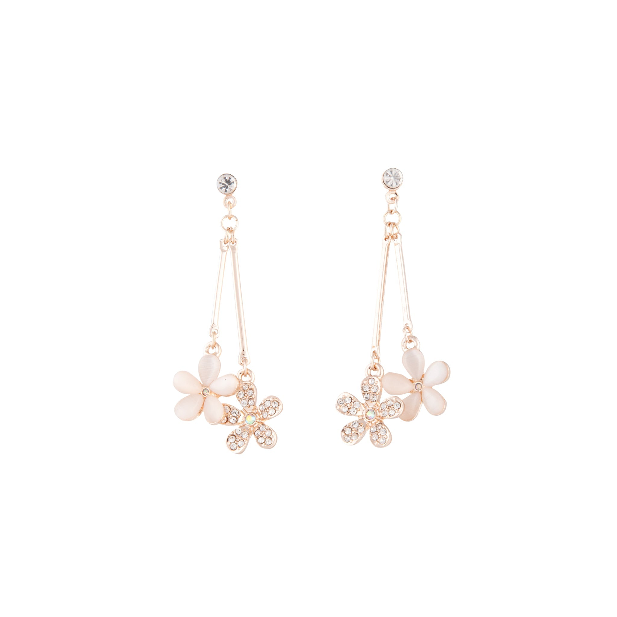 Beaded Flower Double Drop Earring