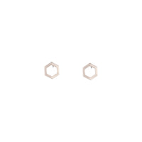 Rose Gold Open Hexagon Stud Earring - link has visual effect only