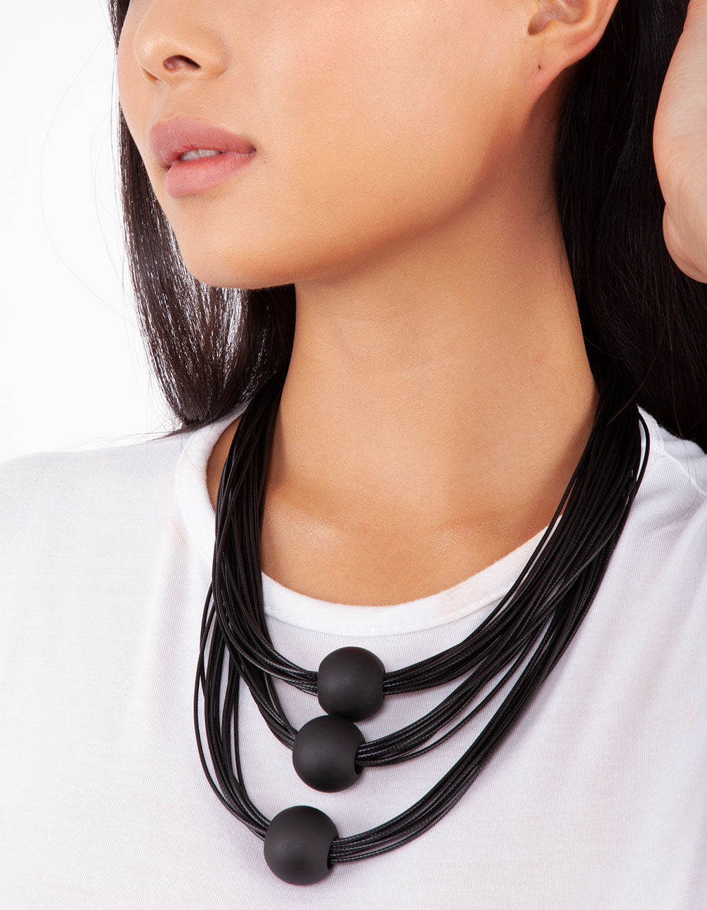 Black Waxed Cord Necklace