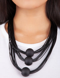 Black Waxed Cord Necklace - link has visual effect only