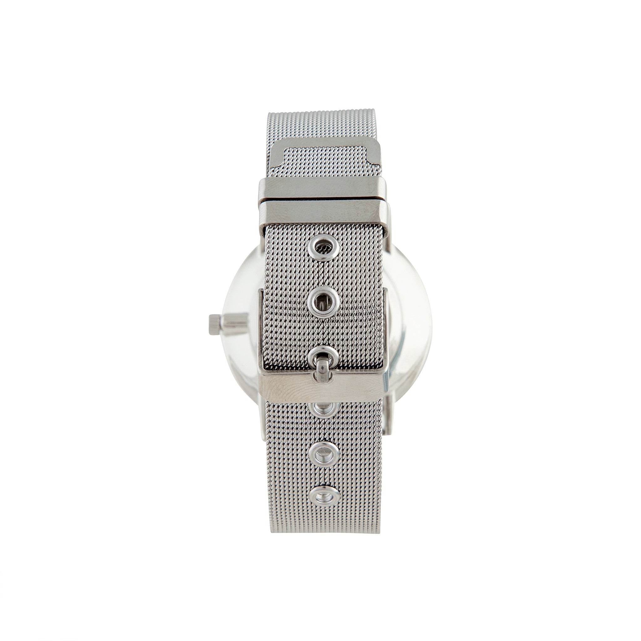 Rhodium Marble Mesh Strap Watch