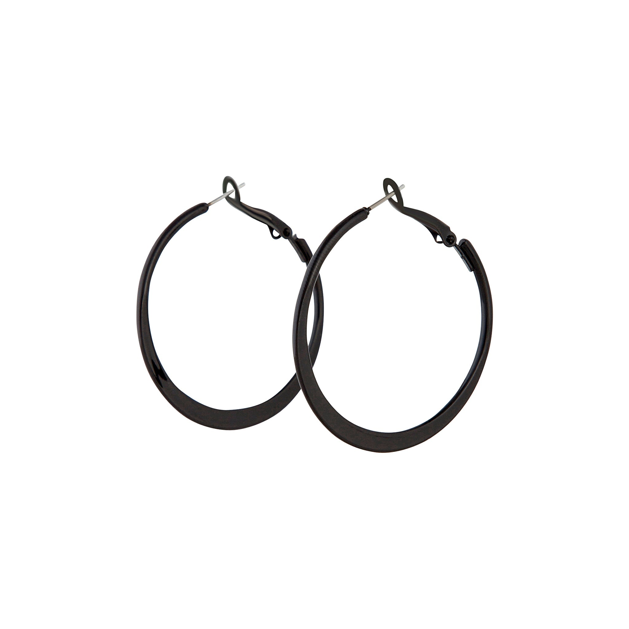 Black Flat Bottom Hoop Earring
